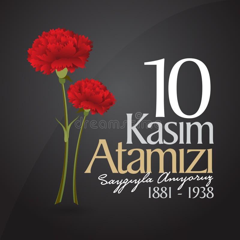 10 de novembro, aniversário de Mustafa Kemal Ataturk Death Day Memorial Day de Ataturk Projeto do quadro de avisos ilustração stock