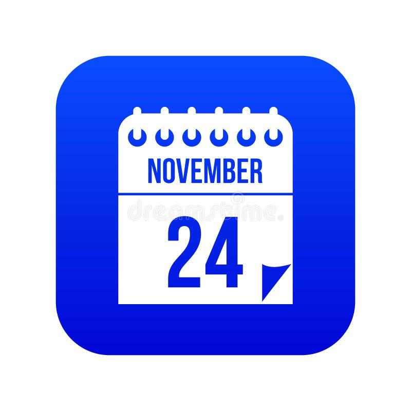 24 de novembro azul digital do ícone do calendário ilustração stock
