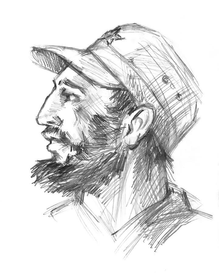 26 de novembro de 2016 Retrato de Fidel Castro Político cubano, revolucionário, presidente de Cuba Desenho de lápis no esboço ilustração stock