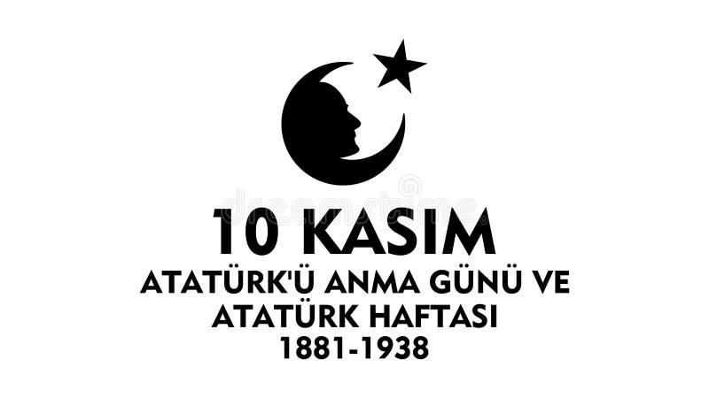 10 de novembro dia da comemoração de Ataturk ilustração do vetor