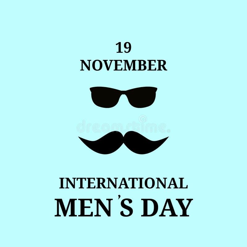 19 de novembro Dia internacional feliz dos homens Bigode e vidros pretos, vetor, isolado, ilustração royalty free