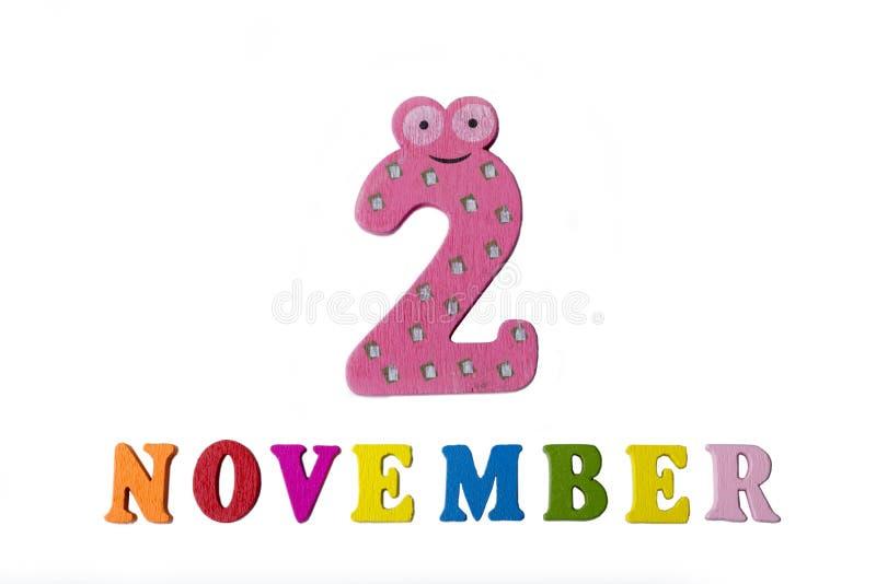 2 de novembro, em um fundo branco, em números e em letras foto de stock royalty free