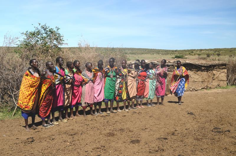 15 de novembro de 2015, Masai Mara, Kenya, África Mulheres coloridamente vestidas do Masai que preparam-se para cantar imagem de stock royalty free