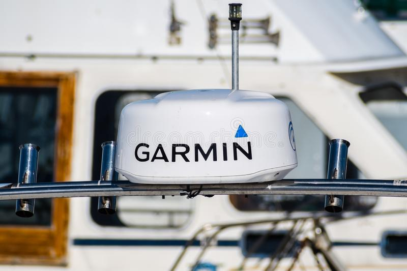 22 de novembro de 2018 Moss Landing/CA/EUA - Garmin GPS montou o imagens de stock royalty free