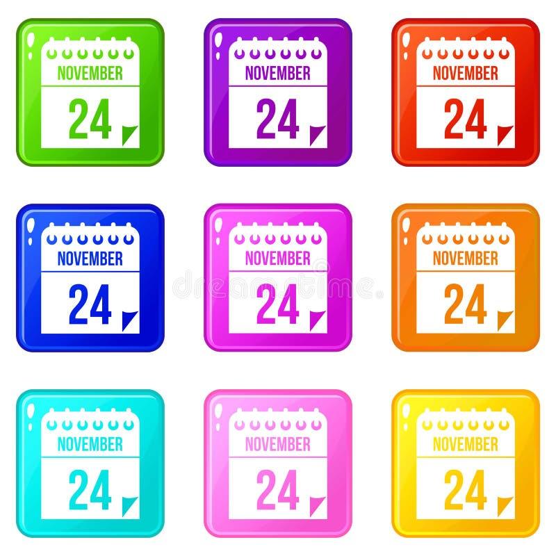 24 de novembro o calendário ajustou 9 ilustração royalty free