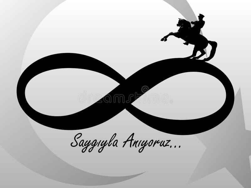 10 de novembro, o fundador da República da Turquia M K Aniversário da morte do ` s de Ataturk Inglês: 10 de novembro de 1881 - 19 ilustração royalty free
