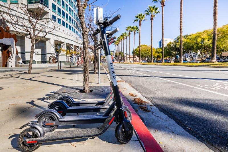 25 de novembro de 2018 San Jose/CA/EUA - 'trotinette's elétricos l do pássaro foto de stock royalty free