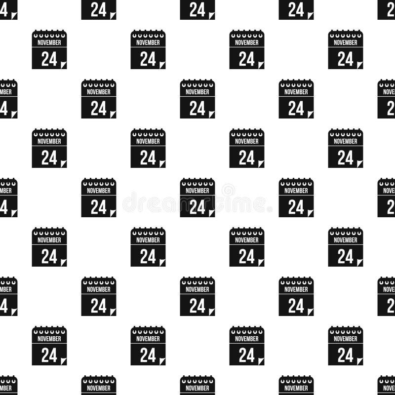 24 de novembro teste padrão do calendário, estilo simples ilustração do vetor