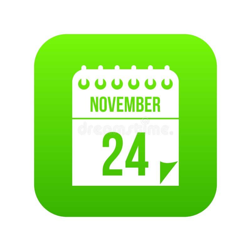 24 de novembro verde digital do ícone do calendário ilustração stock