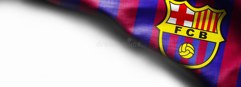 7 de noviembre de 2015, Barcelona, España - el logotipo del club del fútbol de Barcelona en bandera que agita en el fondo blanco fotos de archivo libres de regalías