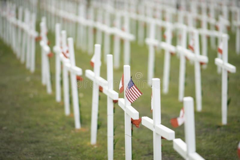 7 de noviembre de 2015 - Calgary, Alberta Canadá - Campo de cruces para conmemorar el día de la conmemoración de Canadá fotografía de archivo libre de regalías