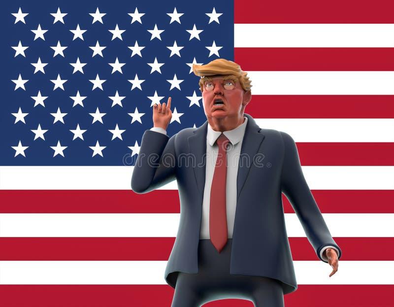 12 de noviembre de 2016: Retrato del carácter de Donald Trump en fondo de la bandera americana ilustración 3D libre illustration