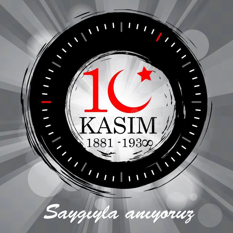 10 de noviembre, ejemplo de Ataturk Memorial Day stock de ilustración