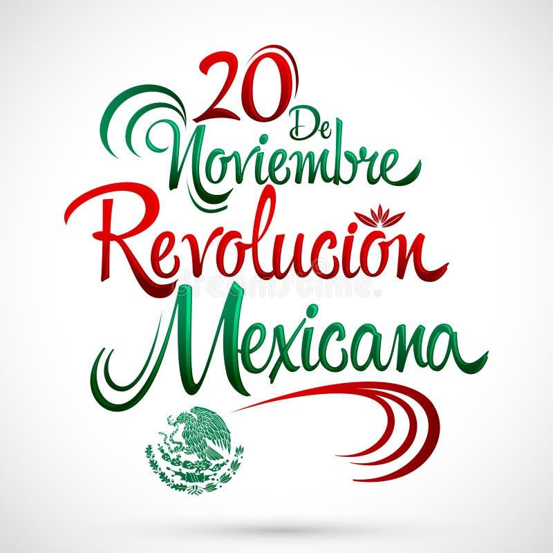 20 De Noviembre Revolucion Mexicana, Listopadu 20 Meksykańskiej rewoluci hiszpańszczyzn tekst - royalty ilustracja
