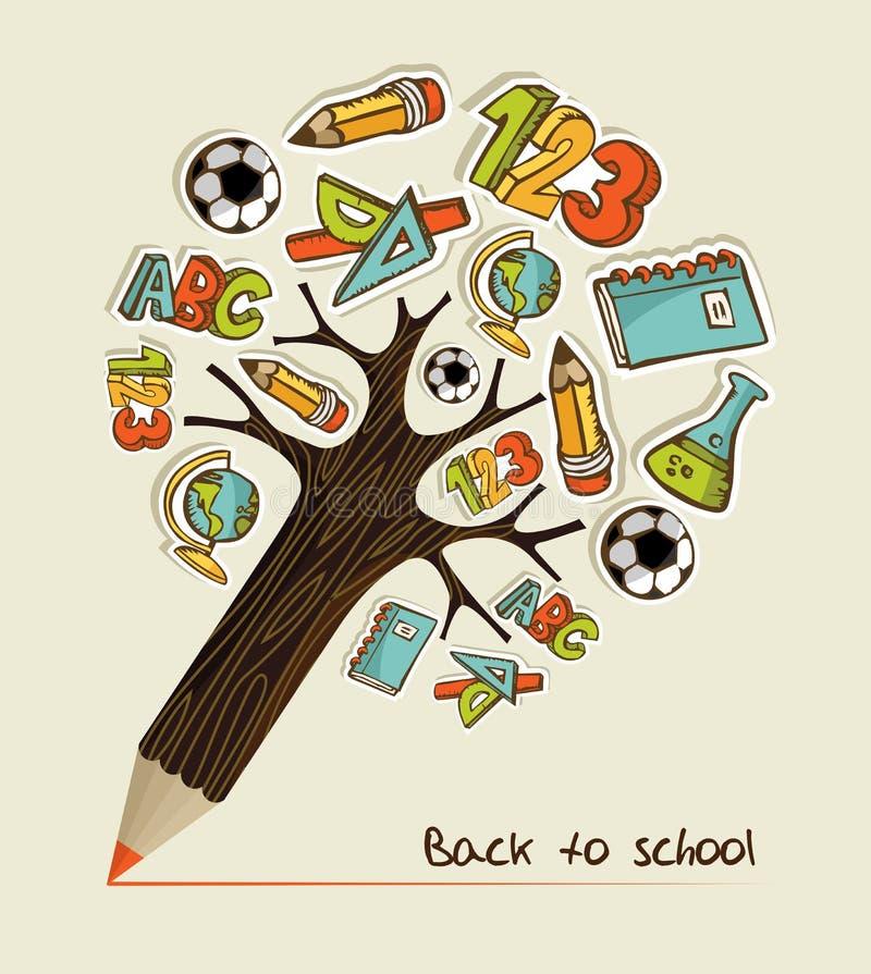De nuevo a árbol del lápiz de la escuela stock de ilustración