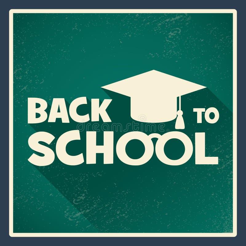 De nuevo al cartel de la escuela con la pizarra verde y ilustración del vector