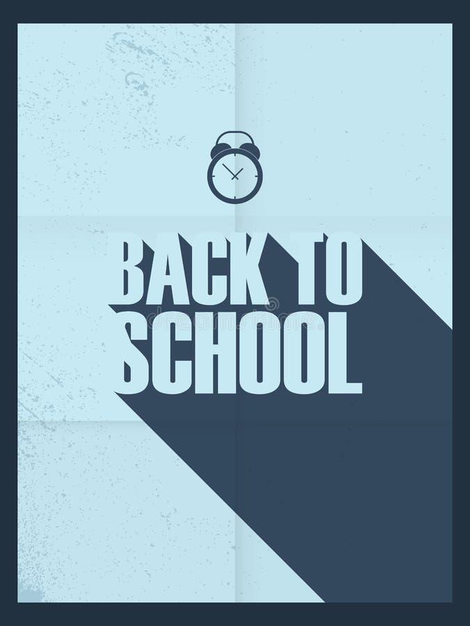 De nuevo al cartel de la escuela Estilo retro de la vendimia largo stock de ilustración