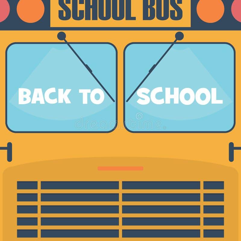 De nuevo al cartel de la escuela Vista delantera del autobús escolar con stock de ilustración