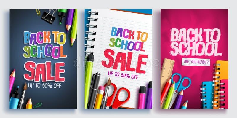 De nuevo al cartel del vector de la venta de la escuela el diseño fijó con las fuentes de escuela coloridas, artículos educativos stock de ilustración