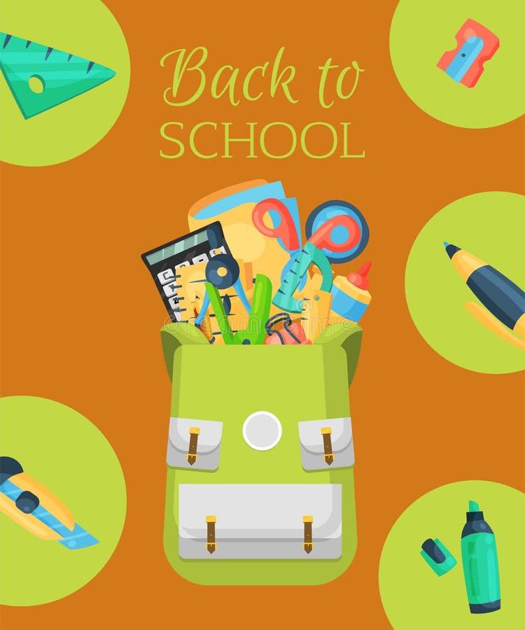 De nuevo al cartel de la escuela, bandera Mochila de la escuela de los niños con el ejemplo del vector del equipo de la educación libre illustration