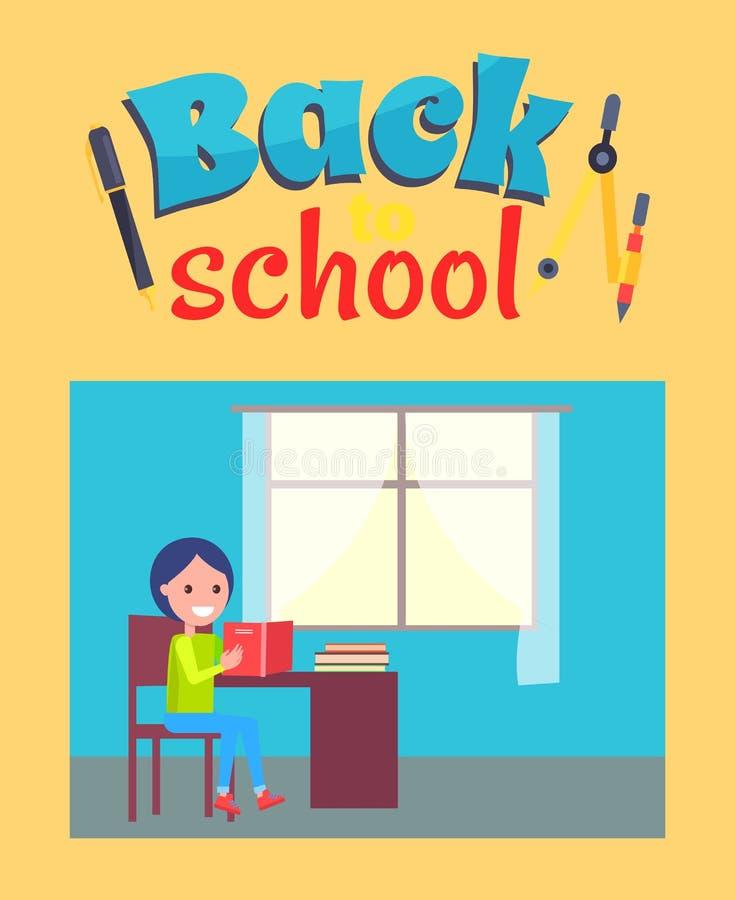 De nuevo al cartel de la escuela con el colegial siéntese en el escritorio stock de ilustración