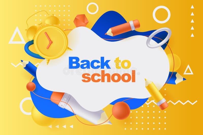 De nuevo al cartel de la escuela, plantilla del diseño de la bandera Ejemplo de lápices, despertador, formas geométricas plástica stock de ilustración