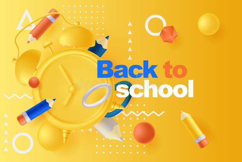 De nuevo al cartel de la escuela, plantilla del diseño de la bandera Ejemplo de lápices, despertador, formas geométricas plástica ilustración del vector