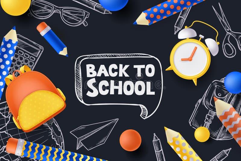 De nuevo al cartel de la venta de la escuela, bandera Ejemplo del vector 3d de la mochila, lápices, despertador Concepto creativo ilustración del vector
