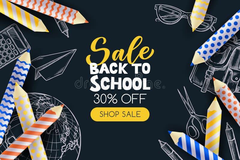 De nuevo al cartel de la venta de la escuela, plantilla del diseño de la bandera Ejemplo del vector 3d de lápices y de fuentes de stock de ilustración