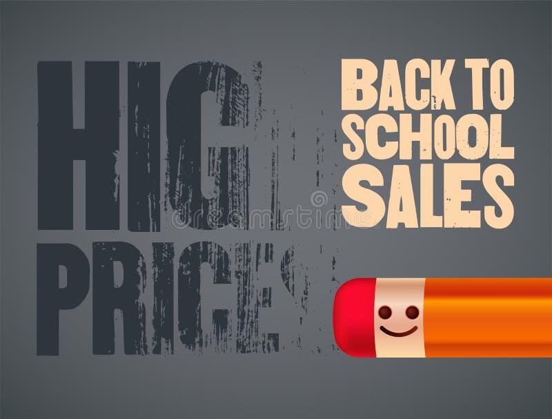 De nuevo al cartel de las ventas de la escuela con el carácter sonriente del lápiz Ilustración del vector ilustración del vector