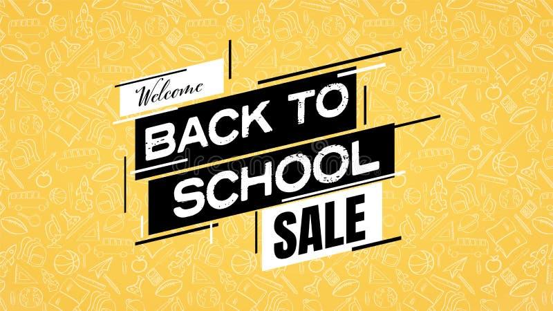 De nuevo al cartel o a la bandera de la venta de la escuela con el modelo de las fuentes de escuela en fondo Compras, descuentos, stock de ilustración