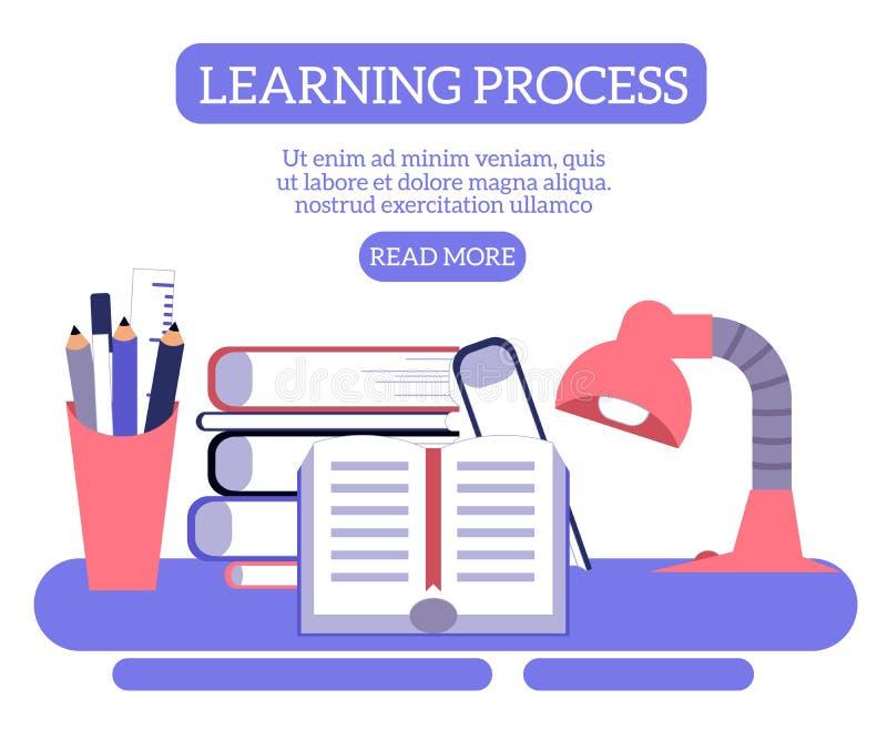 De nuevo al concepto de la escuela de tabla del estudiante con la pila de libros y de artículos de la cancillería libre illustration