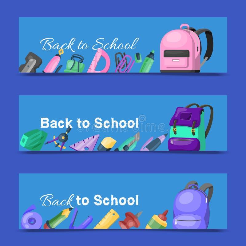 De nuevo al conjunto de la escuela de banderas Mochila de la escuela de los niños con el ejemplo del vector del equipo de la educ libre illustration