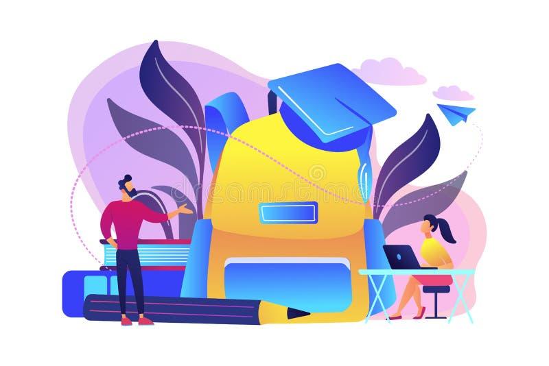 De nuevo al ejemplo 2018-2019 del vector del concepto de la escuela ilustración del vector