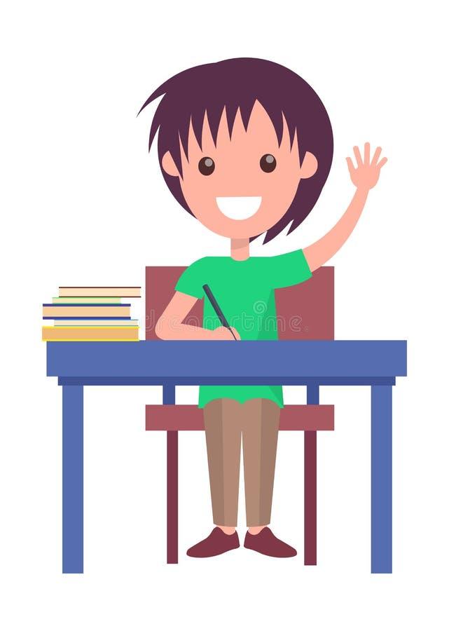 De nuevo al ejemplo del vector de la escuela con el colegial stock de ilustración