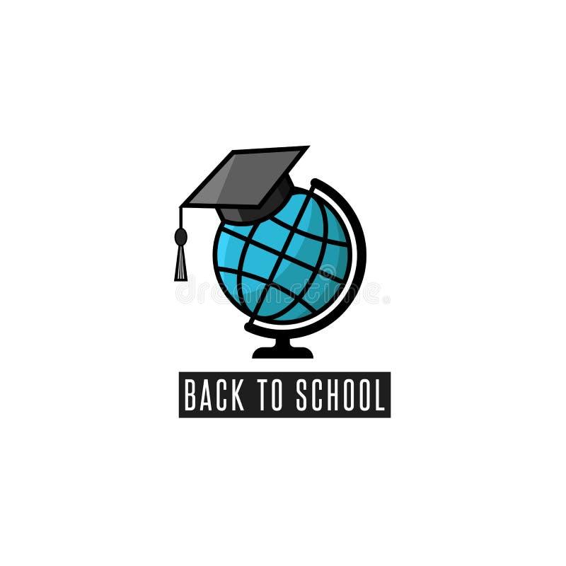 De nuevo al globo del logotipo de la escuela y al emblema de los cursos de aprendizaje del birrete o a la maqueta del cartel de l ilustración del vector
