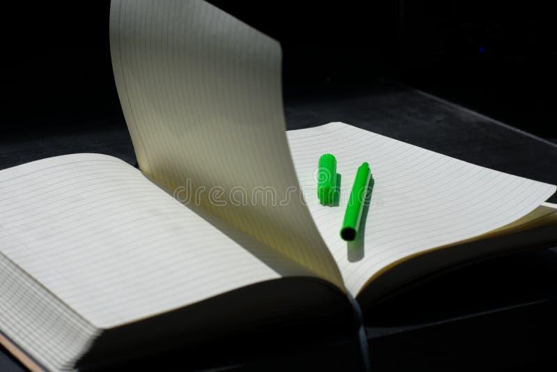 De nuevo al marcador del verde del cuaderno de Noteblock de la escuela el color observa verano foto de archivo libre de regalías