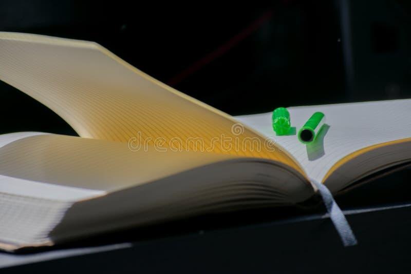 De nuevo al marcador del verde del cuaderno de Noteblock de la escuela el color observa verano fotos de archivo libres de regalías