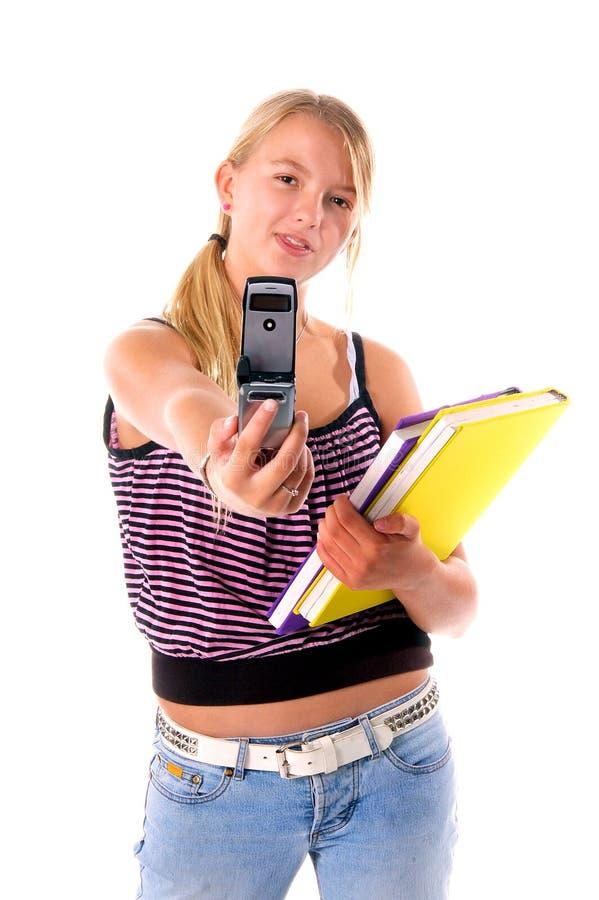 Download De Nuevo Al Teléfono Celular De La Escuela Imagen de archivo - Imagen de muchacha, caucásico: 191951