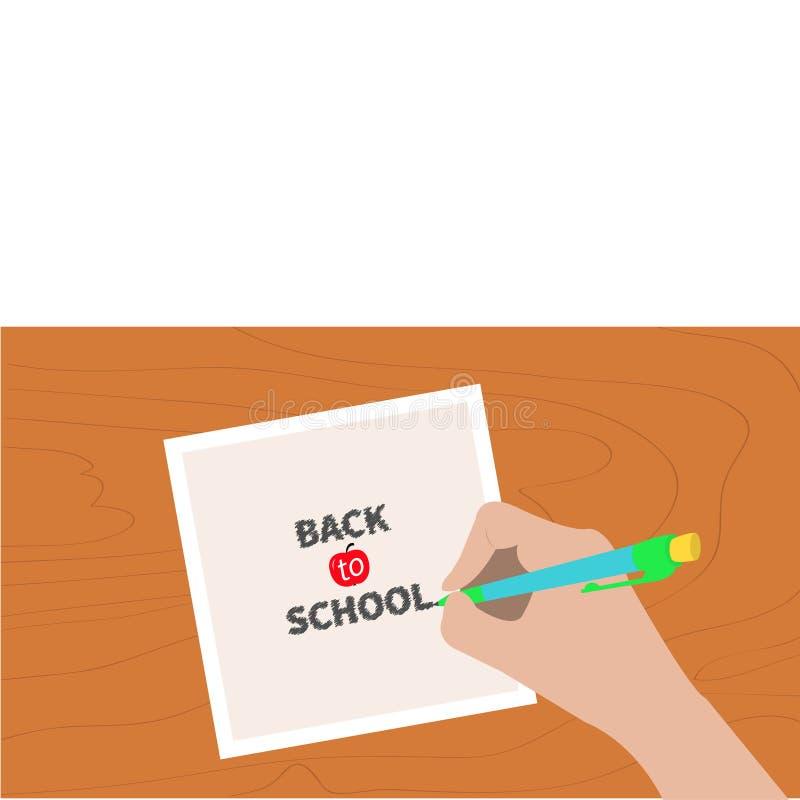 De nuevo al texto de la tiza de la tarjeta de felicitación de la escuela Pluma de dibujo de la escritura de la mano libre illustration