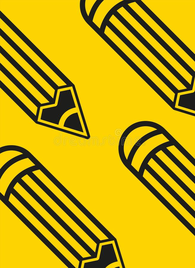 De nuevo a bandera de escuela, cartel, diseño plano colorido, backgound del vector P?gina web stock de ilustración
