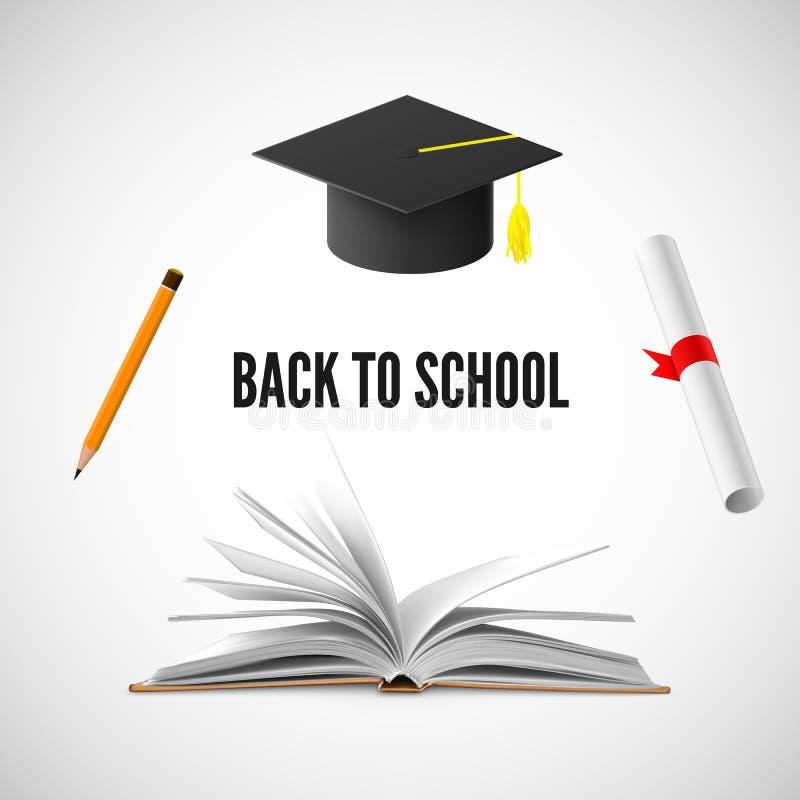 De nuevo a bandera de escuela Ejemplo de la educación y del conocimiento Vector libre illustration