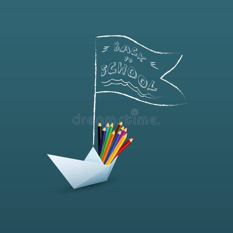 De nuevo a bandera de escuela o a plantilla del vector del cartel con el mensaje exhausto de la mano y al barco de papel con el l ilustración del vector