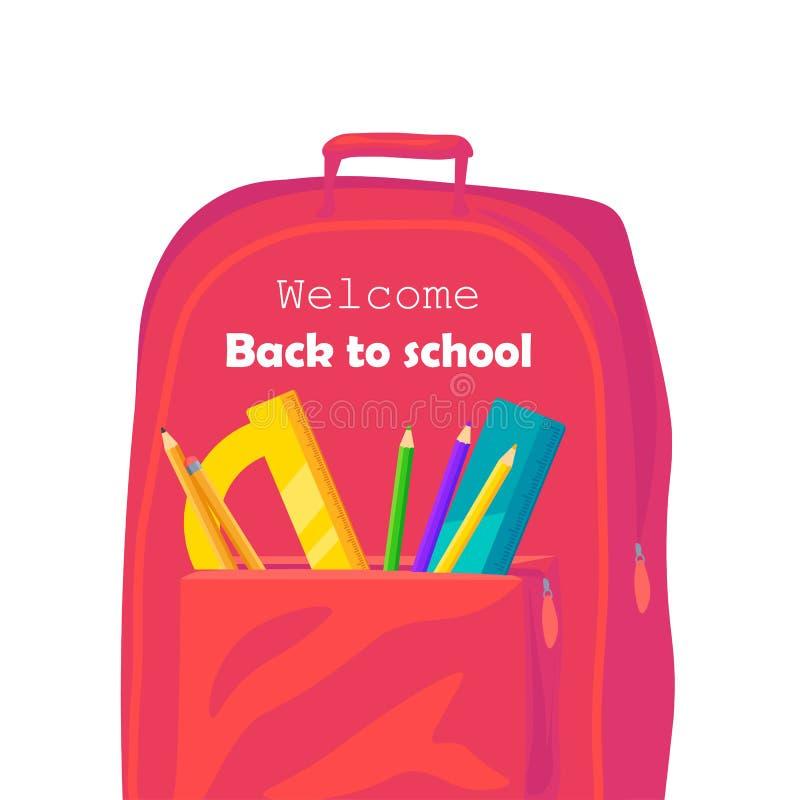De nuevo a bandera de la web de la escuela, ejemplo colorido de la mochila El bolso del estudiante con las fuentes de la clase y  libre illustration