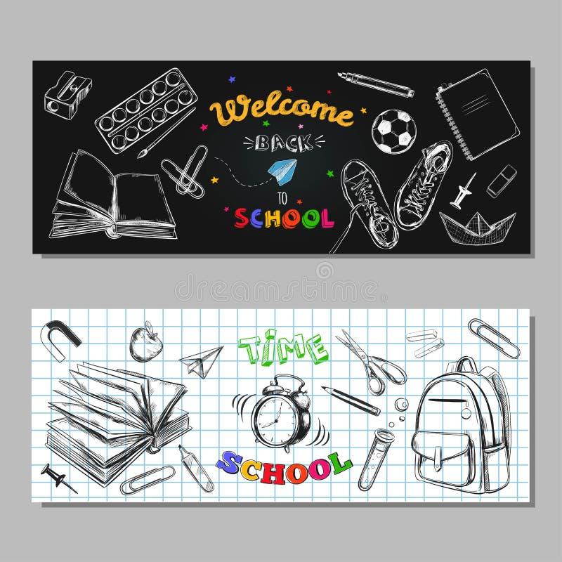 De nuevo a banderas de la VENTA de la escuela, etiquetas Ilustración drenada mano del vector Letras de la pizarra tipografía Esti ilustración del vector