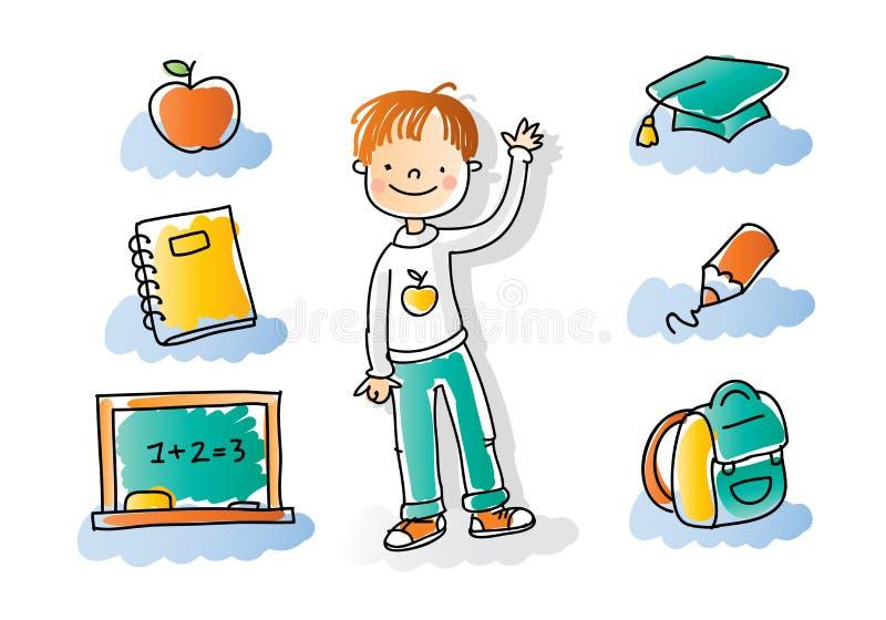 De nuevo a cabritos de la escuela ilustración del vector