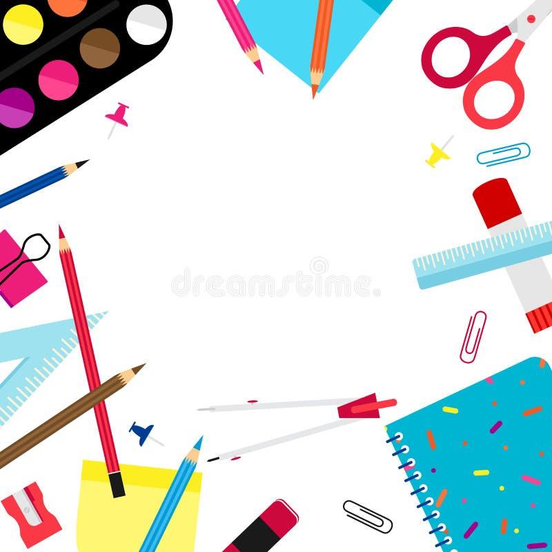 De nuevo a concepto creativo de la escuela en el diseño blanco del marco del fondo del color ilustración del vector