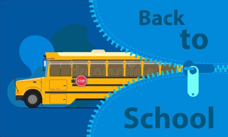 De nuevo a concepto de la educación del autobús escolar abra el bolso grande para estudiar tiempo prepare a sus niños Ilustraci?n stock de ilustración