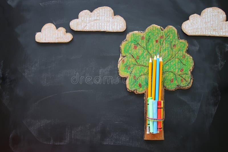 De nuevo a concepto de la escuela Árbol de la imagen de la visión superior del conocimiento y de los lápices sobre fondo de la pi fotos de archivo