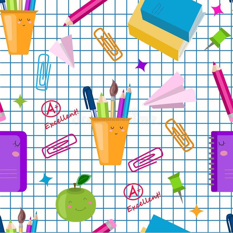 De nuevo a concepto de la escuela Modelo incons?til de la escuela del vector Los niños lindos del kawaii imprimen, textura De nue ilustración del vector